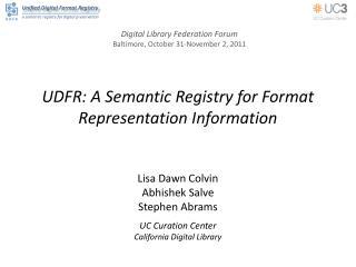 UDFR: A Semantic Registry for Format Representation Information