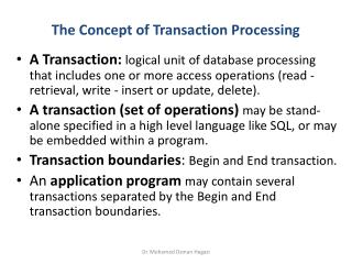 The Concept of Transaction Processing