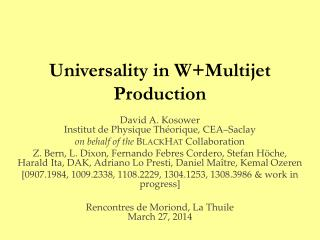 Universality in  W+Multijet  Production