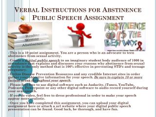 Verbal Instructions for Abstinence Public Speech Assignment