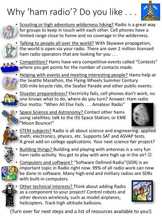 Why ' ham  radio'? Do you like . . .