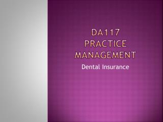DA117 Practice Management