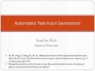 Automated Test-Input Generation