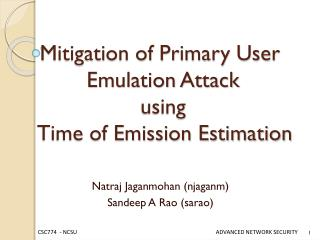 Mitigation of Primary User  Emulation Attack   using    Time  of Emission  Estimation