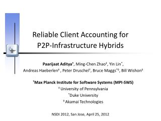 Reliable Client Accounting for  P2P-Infrastructure Hybrids