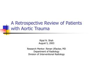 a retrospective review of patients with aortic trauma