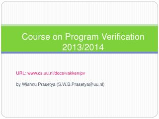 Course on Program Verification 2013/2014
