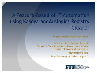 A Feature-Based of IT Automation  using  Kaseya andAuslogics  Registry Cleaner