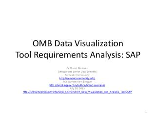 OMB Data Visualization ToolRequirements Analysis: SAP
