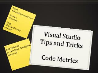 Visual Studio Tips and Tricks Code Metrics
