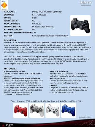 HARDWARE:		       DUALSHOCK ® 3 Wireless Controller EAN CODE: 	      0711719489658 COLOR:		       Black FOR USE WITH: