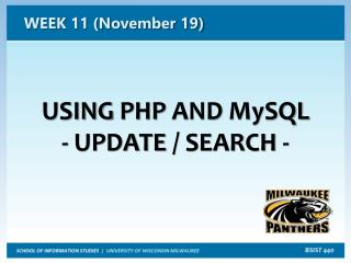 USING  PHP  AND  MySQL  -  UPDATE  / SEARCH -
