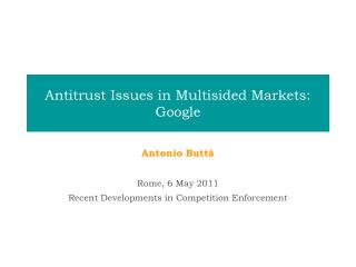 antitrust issues in multisided markets: google