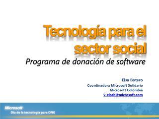 Tecnología para el sector social  Programa de donación de software
