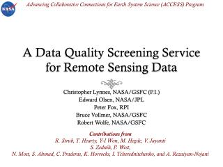 A Data Quality Screening Service for Remote Sensing Data