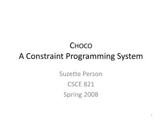 Choco A Constraint Programming System