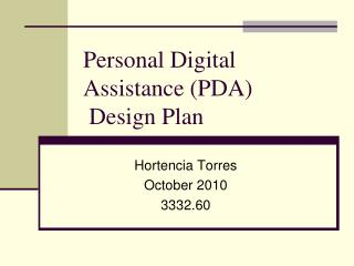 Personal Digital Assistance (PDA)  Design Plan