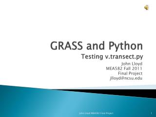 GRASS and Python Testing  v.transect.py