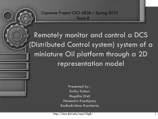 Remotely monitor and control a DCS (Distributed Control system) system of a miniature Oil platform through a 2D represe