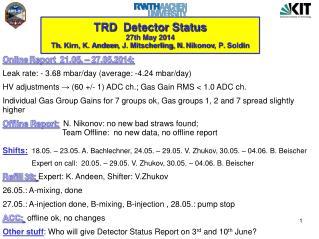 TRD   Detector  Status 27th May 2014  Th . Kirn, K.  Andeen , J. Mitscherling, N.  Nikonov , P.  Soldin