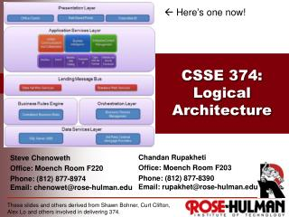 CSSE 374 : Logical Architecture