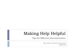 Making Help Helpful