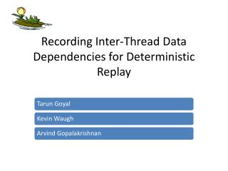 Recording Inter-Thread Data Dependencies for Deterministic Replay