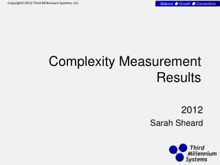 Complexity Measurement Results