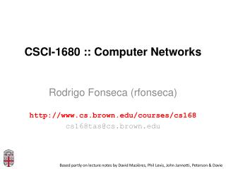 CSCI-1680 :: Computer Networks