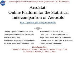 AeroStat:  Online Platform for the Statistical Intercomparison of Aerosols