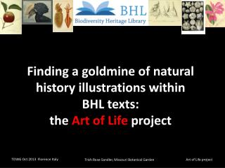 Finding a goldmine of natural history illustrations within  BHL  texts:   the  Art of Life  project
