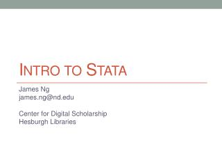 Intro to  Stata