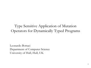 Type Sensitive Application of Mutation Operators for Dynamically Typed Programs