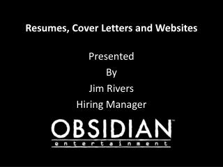 Resumes, Cover Letters and Websites
