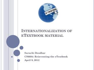 Internationalization of  eTextbook material