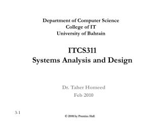 ITCS311 Systems Analysis and Design