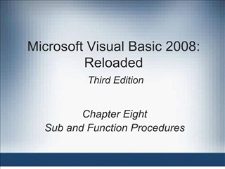 microsoft visual basic 2008: reloaded  third edition