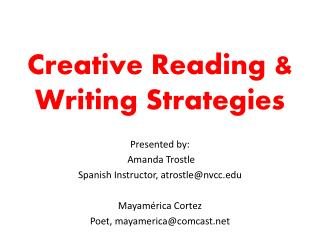 Creative Reading & Writing Strategies