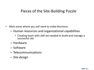 Pieces of the Site-Building Puzzle