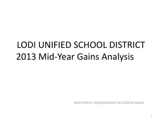 LODI UNIFIED SCHOOL DISTRICT 2013 Mid-Year Gains Analysis