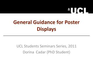 General Guidance for Poster Displays