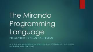 The Miranda Programming Language