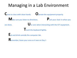 Managing in a Lab Environment