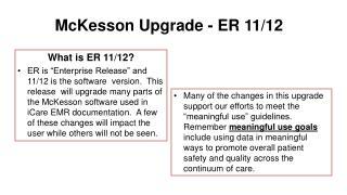 McKesson Upgrade - ER 11/12
