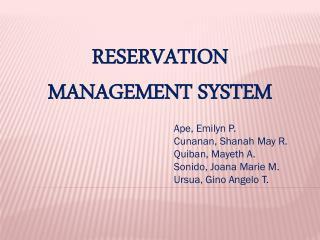 RESERVATION MANAGEMENT SYSTEM