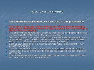 PRIOR TO MEETING STARTING