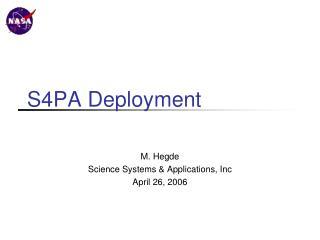 S4PA Deployment