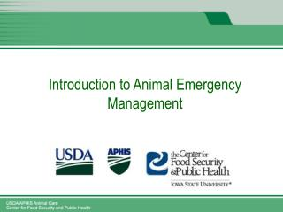 Introduction to Animal Emergency Management