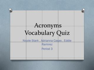 Acronyms Vocabulary Quiz