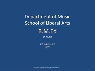 Department of Music School of Liberal Arts